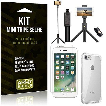 Kit Mini Tripé Selfie iPhone 8 + Capa Anti + Película Vidro - Armyshield