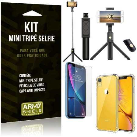 Kit Mini Tripé Selfie iPhone XR 6.1 + Capa Anti + Película Vidro - Armyshield