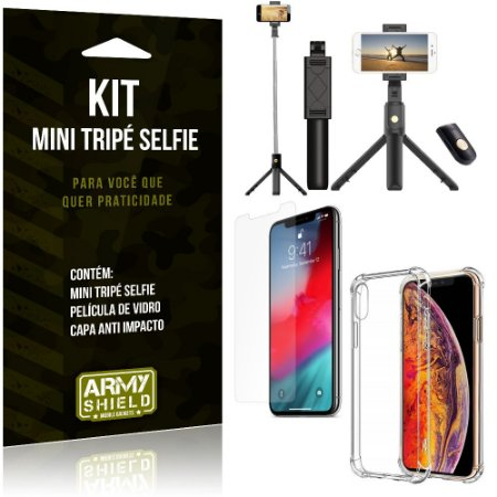 Kit Mini Tripé Selfie iPhone XS Max 6.5 + Capa Anti + Película Vidro - Armyshield
