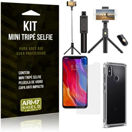 Kit Mini Tripé Selfie Mi 8 + Capa Anti + Película Vidro - Armyshield