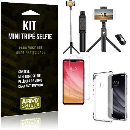 Kit Mini Tripé Selfie Mi 8 Lite + Capa Anti + Película Vidro - Armyshield