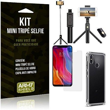 Kit Mini Tripé Selfie Mi 8 Pro + Capa Anti + Película Vidro - Armyshield