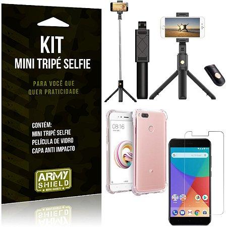 Kit Mini Tripé Selfie Mi A1 (Mi 5X) + Capa Anti + Película Vidro - Armyshield