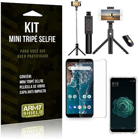 Kit Mini Tripé Selfie Mi A2 (Mi 6X) + Capa Anti + Película Vidro - Armyshield