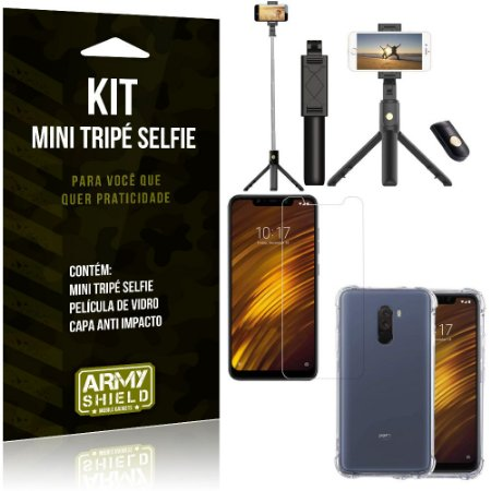 Kit Mini Tripé Selfie Pocophone F1 + Capa Anti + Película Vidro - Armyshield