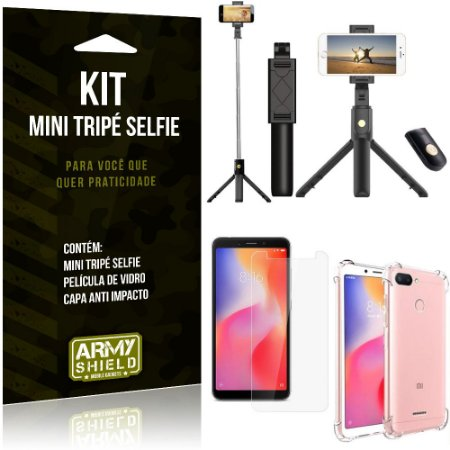 Kit Mini Tripé Selfie Redmi 6 + Capa Anti + Película Vidro - Armyshield