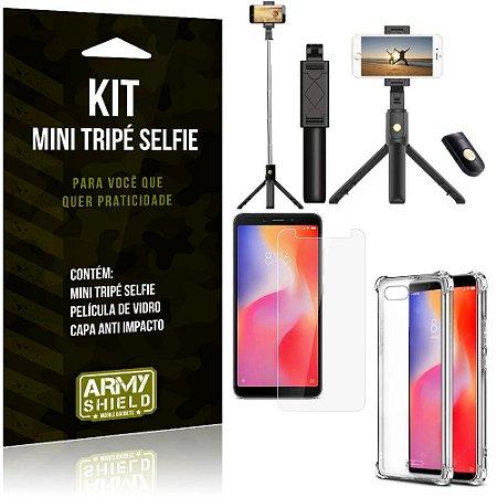 Kit Mini Tripé Selfie Redmi 6A + Capa Anti + Película Vidro - Armyshield