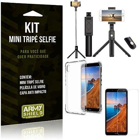 Kit Mini Tripé Selfie Redmi 7A + Capa Anti + Película Vidro - Armyshield