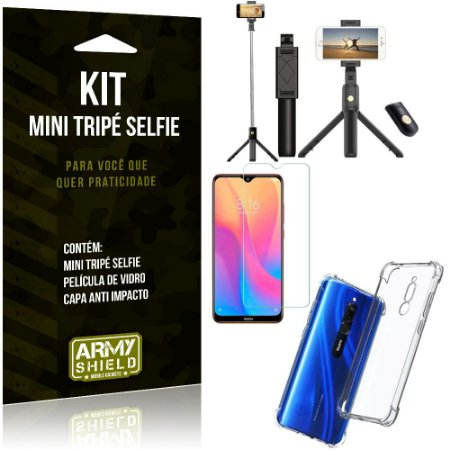Kit Mini Tripé Selfie Redmi 8 + Capa Anti + Película Vidro - Armyshield