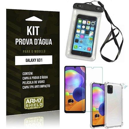 Capinha Prova D'água Galaxy A31 + Capinha Anti Impacto + Película - Armyshield
