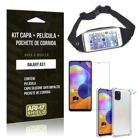 Pochete Galaxy A31 + Capinha Anti Impacto + Película de Vidro Blindada - Armyshield