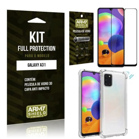 Combo Full Protection Galaxy A31 Película de Vidro 3D + Capa Anti Impacto - Armyshield