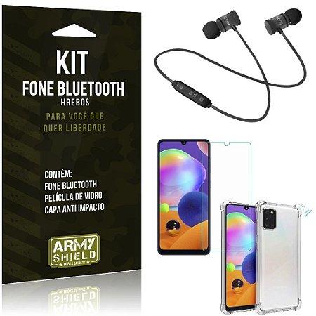 Kit Fone Bluetooth Hrebos Galaxy A31 + Capa Anti + Película Vidro - Armyshield