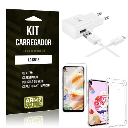 Kit Carregador LG K51s Tipo C + Capa Antishock + Película de Vidro - ArmyShield