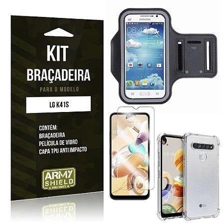 Braçadeira Sporte LG K41s + Capinha Anti Impacto + Película de Vidro - Armyshield