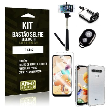 Bastão de Selfie Bluetooth LG K41s + Capinha Anti Impacto +Película Vidro - Armyshield