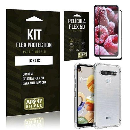 Kit Flex Protection LG K41s Capa Anti Impacto + Película Flex 5D - Armyshield