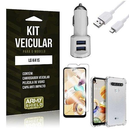 Kit Carregador Veicular Tipo C LG K41s + Película Vidro + Capa Anti - Armyshield