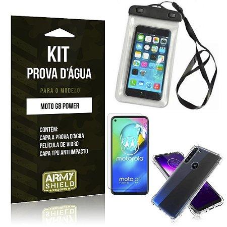 Capinha Prova D'água Moto G8 Power + Capinha Anti Impacto + Película - Armyshield