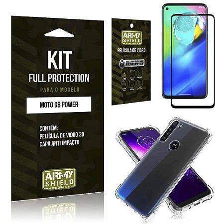 Combo Full Protection Moto G8 Power Película de Vidro 3D + Capa Anti Impacto - Armyshield