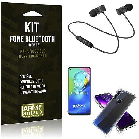 Kit Fone Bluetooth Hrebos Moto G8 Power + Capa Anti + Película Vidro - Armyshield