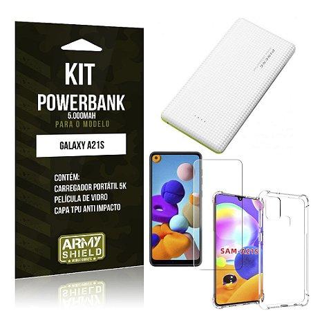 Carregador Portátil 5.000mah Galaxy A21s + Capinha + Película Vidro - Armyshield