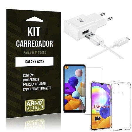 Kit Carregador Galaxy A21s Tipo C + Capa Antishock + Película de Vidro - ArmyShield