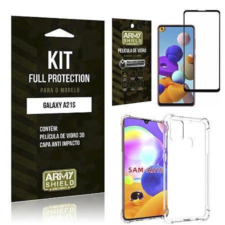 Combo Full Protection Galaxy A21s Película de Vidro 3D + Capa Anti Impacto - Armyshield