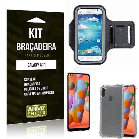 Braçadeira Sporte Galaxy A11 + Capinha Anti Impacto + Película de Vidro - Armyshield