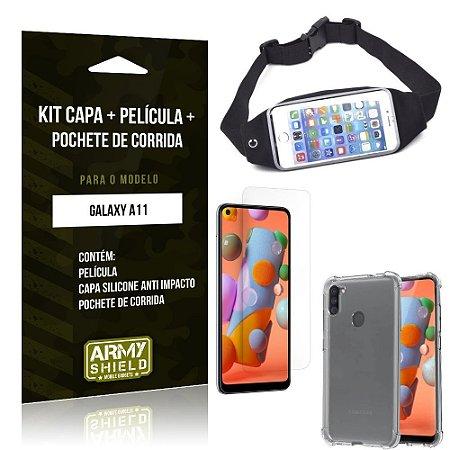 Pochete Galaxy A11 + Capinha Anti Impacto + Película de Vidro Blindada - Armyshield