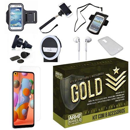 Kit Gold Galaxy A11 com 8 Acessórios - Armyshield