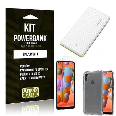 Carregador Portátil 10.000Mah Galaxy A11 + Capinha + Película Vidro - Armyshield
