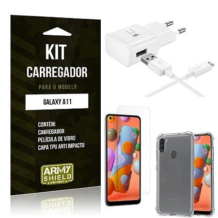 Kit Carregador Galaxy A11 Tipo C + Capa Antishock + Película de Vidro - ArmyShield