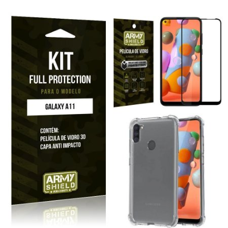 Combo Full Protection Galaxy A11 Película de Vidro 3D + Capa Anti Impacto - Armyshield