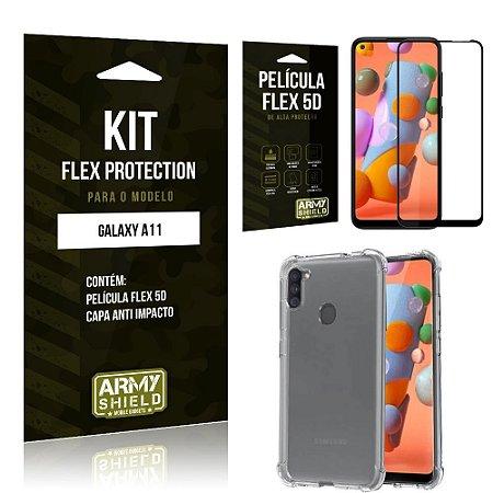Kit Flex Protection Galaxy A11 Capa Anti Impacto + Película Flex 5D - Armyshield