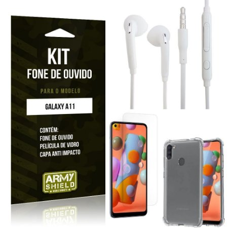 Kit Fone de Ouvido Galaxy A11 Fone + Capa Anti Impacto + Película Vidro - Armyshield
