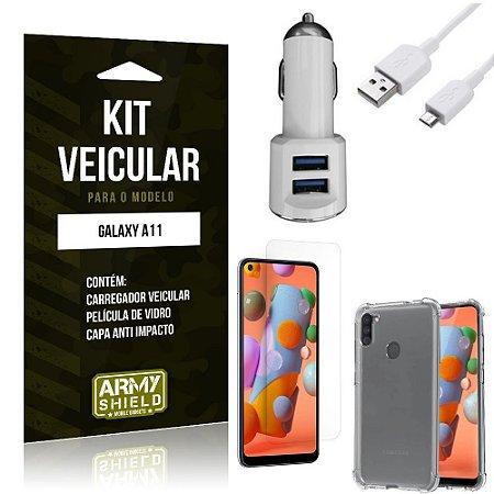 Kit Carregador Veicular Tipo C Galaxy A11 + Película Vidro + Capa Anti - Armyshield