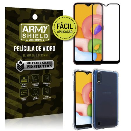 Película 3D Full Cover Fácil Aplicação Galaxy A01 + Capa antishock - Armyshield