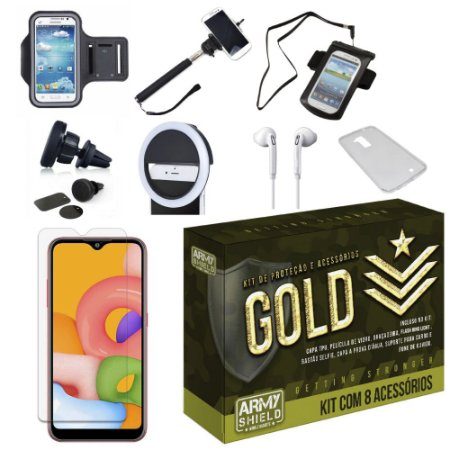 Kit Gold Galaxy A01 com 8 Acessórios - Armyshield