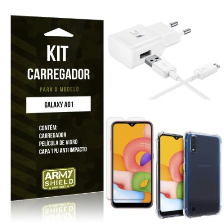 Kit Carregador Galaxy A01 Tipo C + Capa Antishock + Película de Vidro - ArmyShield