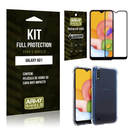 Combo Full Protection Galaxy A01 Película de Vidro 3D + Capa Anti Impacto - Armyshield