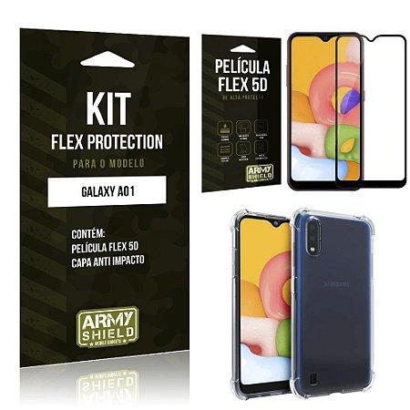 Kit Flex Protection Galaxy A01 Capa Anti Impacto + Película Flex 5D - Armyshield