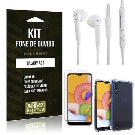 Kit Fone de Ouvido Galaxy A01 Fone + Capa Anti Impacto + Película Vidro - Armyshield