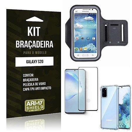 Braçadeira Sporte Galaxy S20 + Capinha Anti Impacto + Película de Vidro 3D - Armyshield