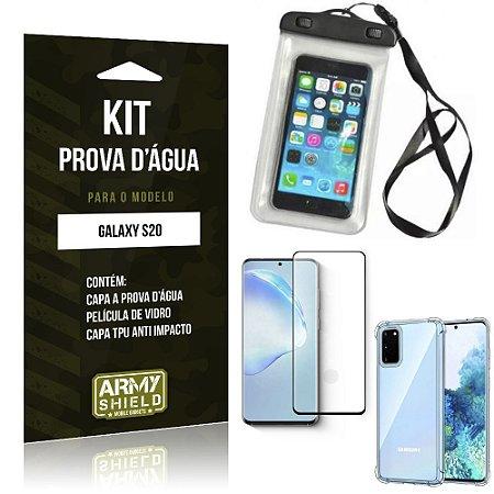 Capinha Prova D'água Galaxy S20 + Capinha Anti Impacto + Película 3D - Armyshield