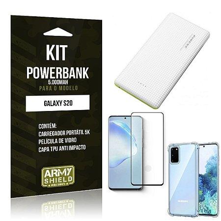 Carregador Portátil 5.000mah Galaxy S20 + Capinha + Película Vidro 3D - Armyshield