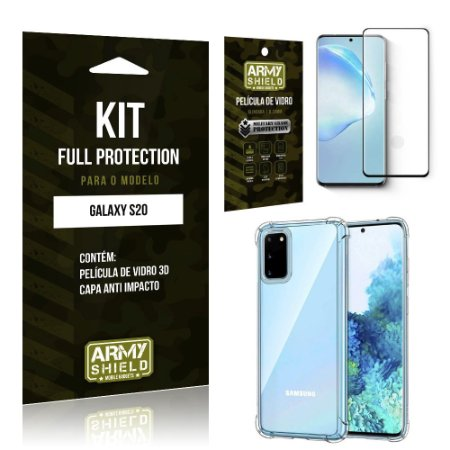 Combo Full Protection Galaxy S20 Película de Vidro 3D + Capa Anti Impacto 3D - Armyshield