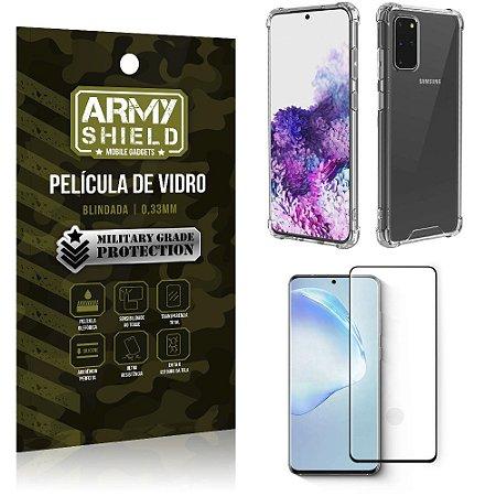 Capinha + Película de Vidro Blindada Full Cover 3D Galaxy S20 Plus- Armyshield