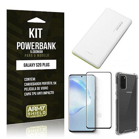 Carregador Portátil 5.000mah Galaxy S20 Plus+ Capinha + Película Vidro 3D - Armyshield