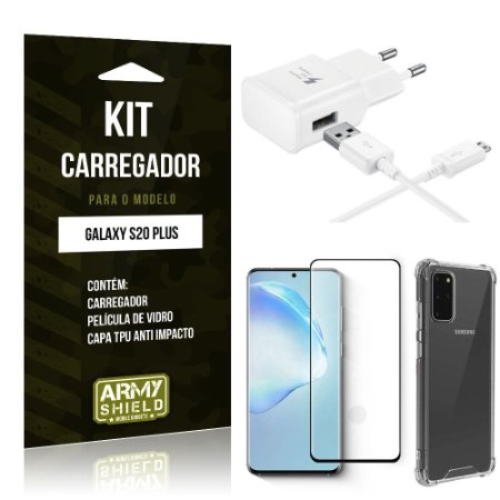 Kit Carregador Galaxy S20 PlusTipo C + Capa Antishock + Película de Vidro 3D - ArmyShield